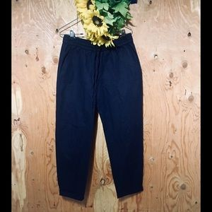J. CREW Navy Pull-On Cuffed Chambray Pants 6 NWOT